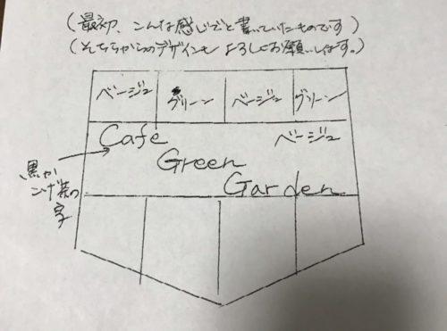 カフェ看板の旗 手書きラフデザイン