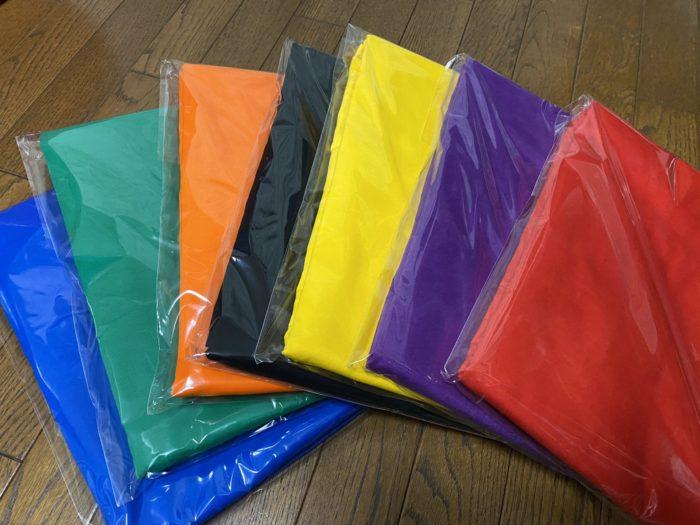 体育祭で使用するカラー無地旗出来上がり